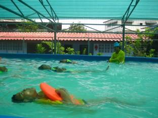 Grade 4 at Samut Prakan work on their kicking skills