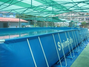 The 12x5m portable pool is 1m deep and ideal for teaching children to swim