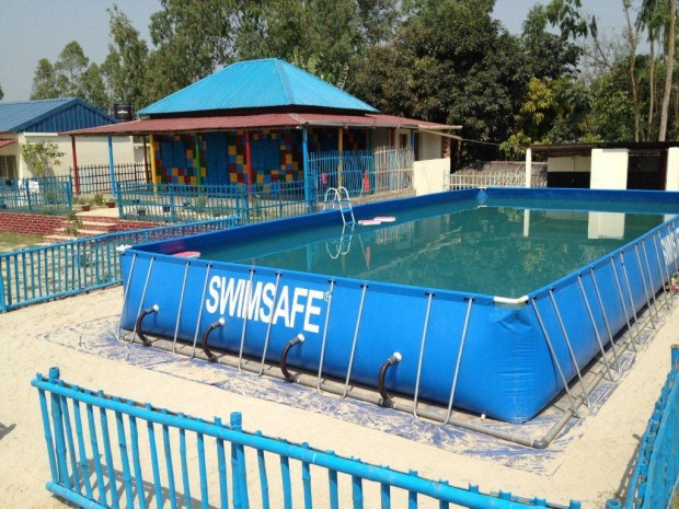 One of the portable pools at the Model Drowning Prevention Centre in Bangladesh